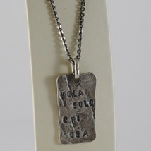 """925 BURNISHED SILVER NECKLACE PLATE """"can fly only those who risk"""" MADE IN ITALY image 1"""