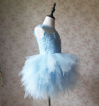 A-Line/Princess Knee-length Flower Girl Dres Blue Tulle/Lace Flowers Puffy 4-16 image 4