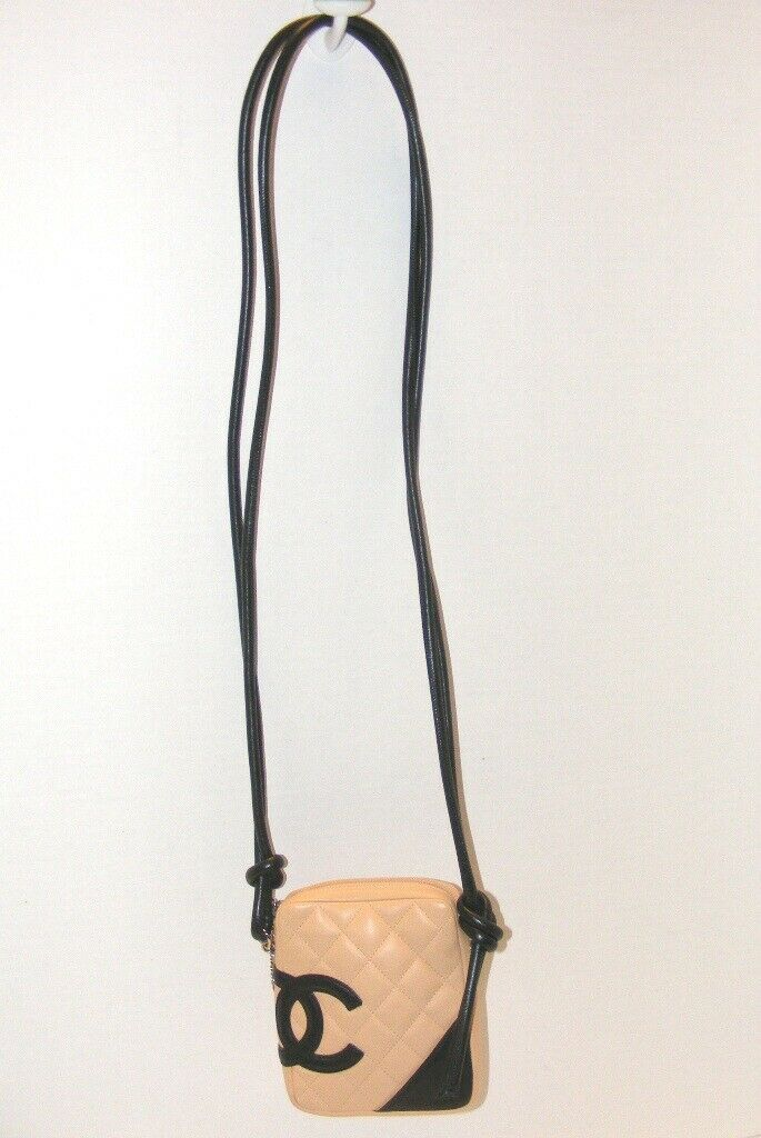 Primary image for AUTHENTIC CHANEL CAMBON LIGNE QUILTED BEIGE W/ BLACK (CC) CROSSBODY HANDBAG EUC