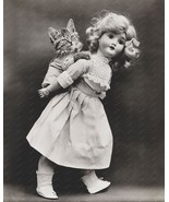 Toy Doll Gives Piggy Back To Kitten 8x10 Reprin... - $20.20