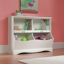 Modern Kids White Bookcase Bookshelf Shelf Cubby Storage Bins Organizer ... - $143.99