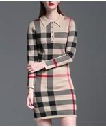 Boutique Beige Tan Nova Check Plaid Knit Dress Tunic Long Sleeve XS S M ... - $46.50+
