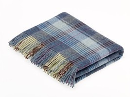 Country Check - Merino Lambswool - Huntingtower Blue Throw / Blanket - ₹8,506.58 INR