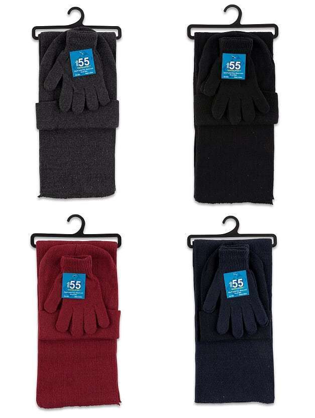 Case of [12] Adult Hat, Glove And Scarf Set - Solid Colors