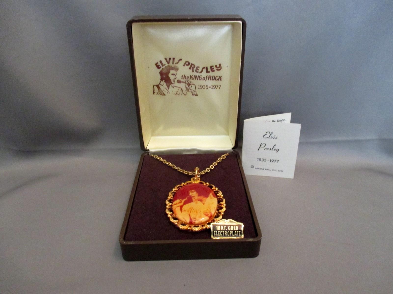 18 K Gold Electroplate Elvis Presley Necklace (1977) Boxcar Ent. NIB