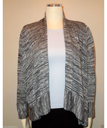 ONLY 9 Black White Gray Cardigan Sweater Ruffle Shawl Collar MED - $19.75