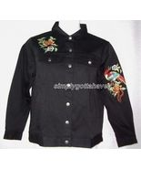Yi Lin Chinese Embroidered Stretch Denim Shirt Jacket Medium from QVC - $29.33