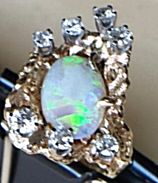 14K MOLTEN GOLD 'FUSION' RING DIAMOND 'DROPLETS'(1.25ctw)'Hot' OPAL(5Ct)HandMade