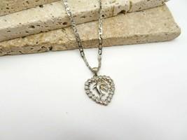 Retro Sterling Silver White Rhinestone Dolphin Heart Pendant Necklace L52 - $21.99