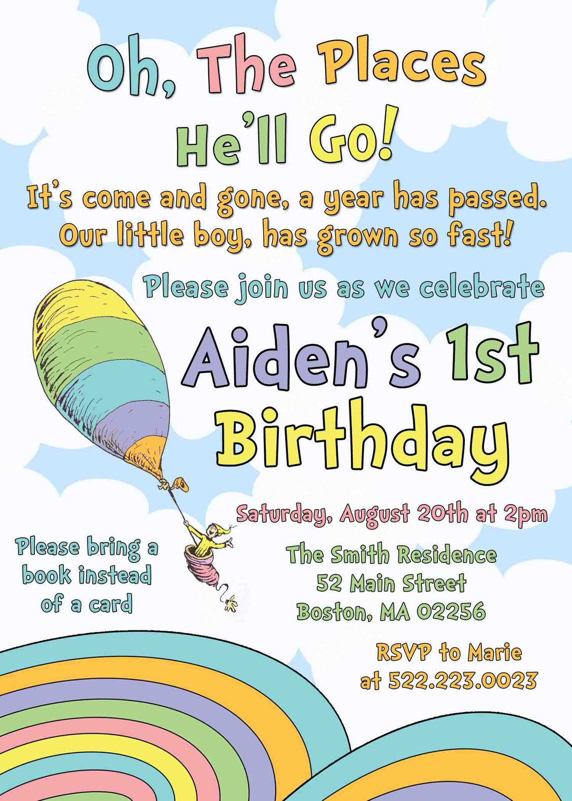 Oh the places you ll go birthday boy invite