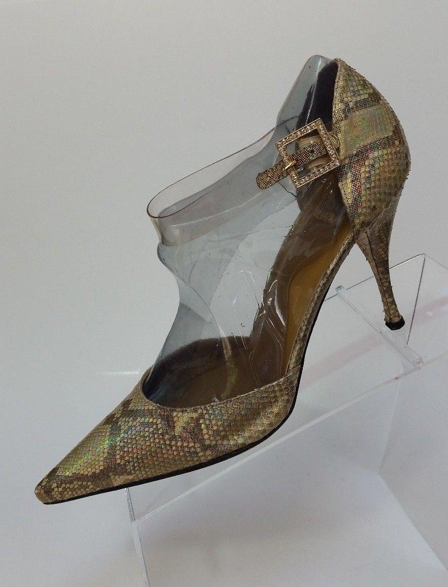 277096dd5e7d Stuart Weitzman Shoes Heels Pumps Snake Skin Gold Shimmer Womens Size 7.5 B