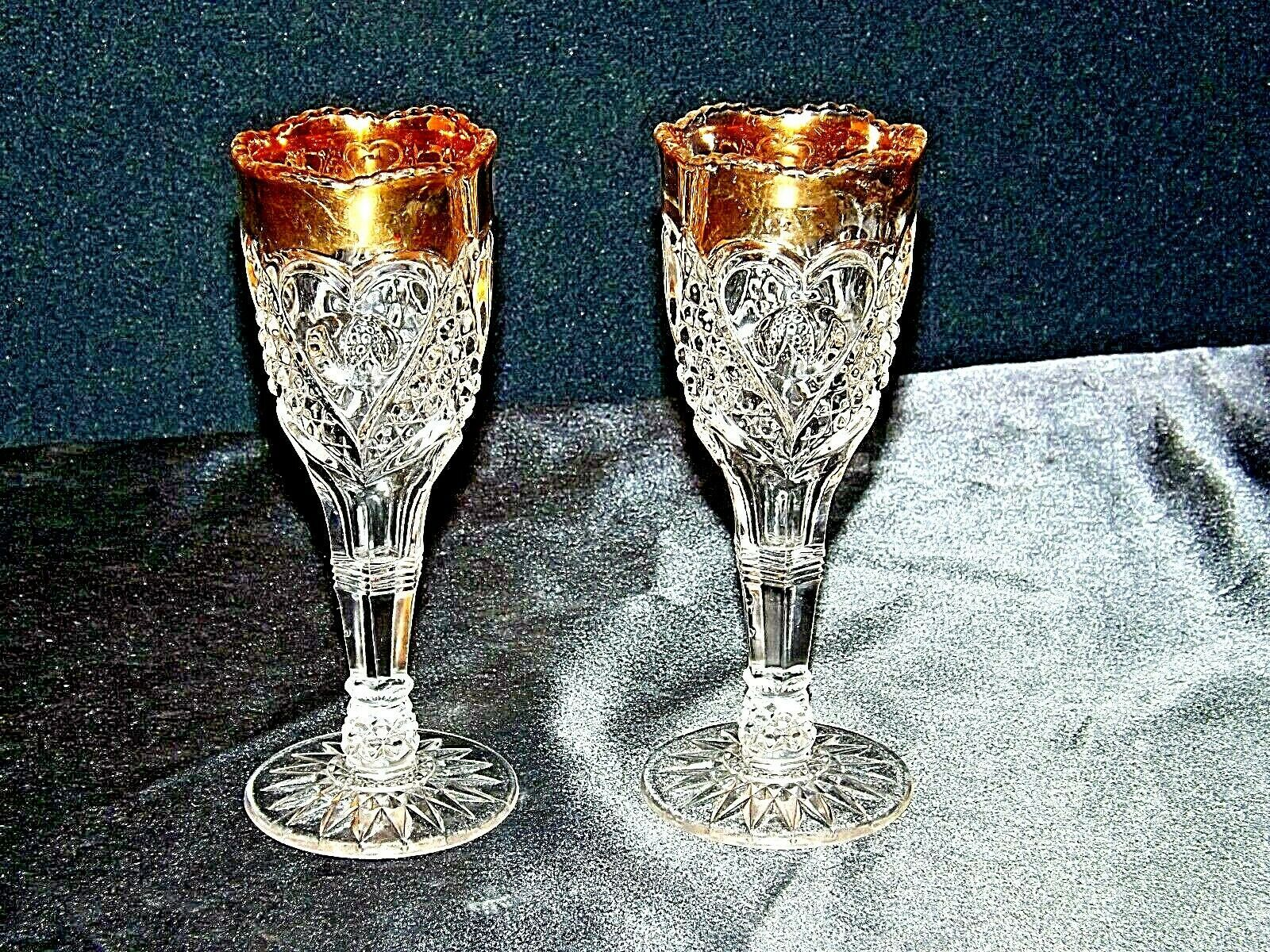 Vintage Medium weight Cut Glass Goblets with Detailed DesignAA19-LD11926
