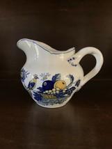 "Spode Blue Bird Fine Stone Creamer 10 oz 3 5/8"" Blue Yellow Fruits Bird England - $37.04"