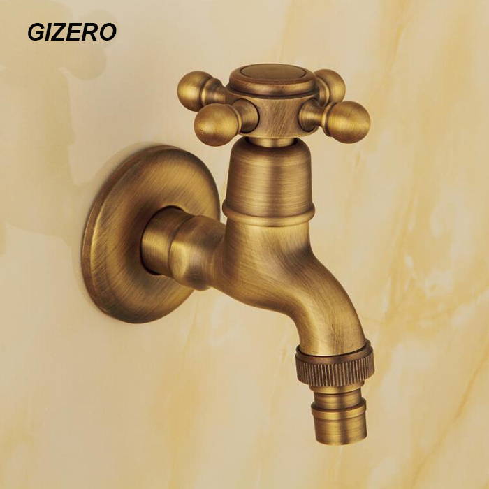 Tique laundry faucet high quality solid brass washing machine cold only taps antique copper wall