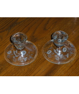 Avon Hummingbird Crystal Candle Stick Holders Etched Set of 2 - $14.99
