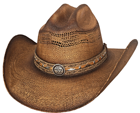 Primary image for Bullhide Corral Dust Bangora Straw Cowboy Hat Vented Crown Conchos Pecan Black