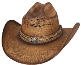 Bullhide Corral Dust Bangora Straw Cowboy Hat Vented Crown Conchos Pecan... - $63.00