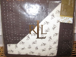 2 Ralph Lauren TALMADGE HILL Brown Quilted floral Calico Shams PAIR - $90.20