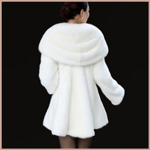 Thick Soft Warm White Snow Mink Wide Collar and Lapel Long Sleeved Faux Fur Coat image 4