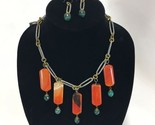 Funky Chunky Orange Green Stone Bead Necklace and Dangle Earrings