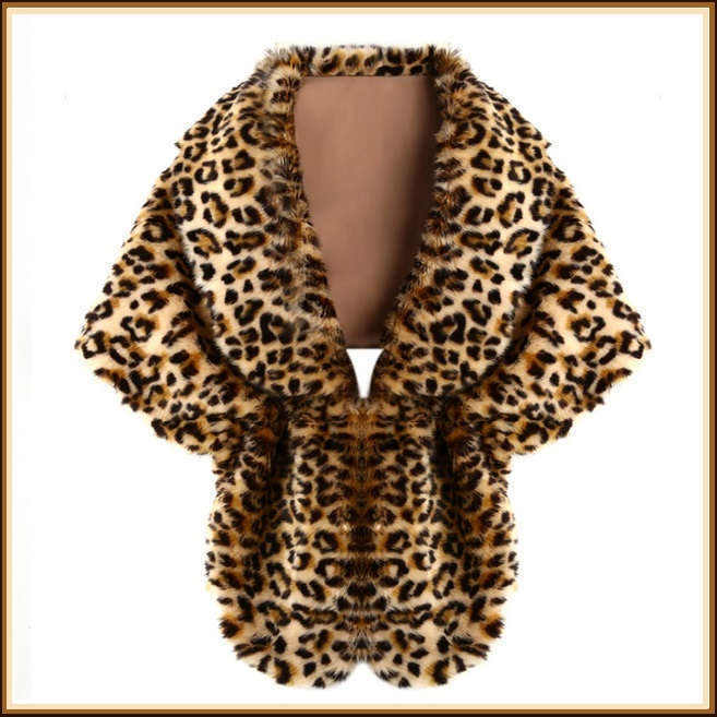 Leopard Faux Fur Stole Cape with Collar With Hidden Fastener