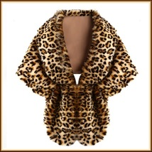 Leopard Faux Fur Stole Cape with Collar With Hidden Fastener - $56.95