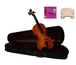 Crystalcello 1/32 Size Acoustic Violin w/Case,Bow+Extra E String,Rosin,2 Bridges - $39.00