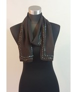 Brown Sheer Scarf Wrap Beaded Trim Satin Back Unbranded - $9.89