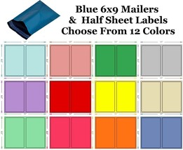 6x9 ( Blue ) Poly Mailers + Colored Half Sheet Self Adhesive Shipping La... - $2.99+