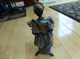 """vintage doll African woman cloth statue 13"""" han... - $14.00"""