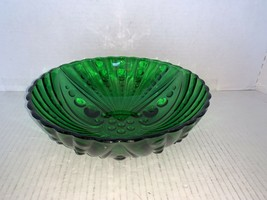 """Anchor Hocking Forest Green Oyster & Pearl Bubble Serving Bowl 8 1/2"""" - $12.50"""