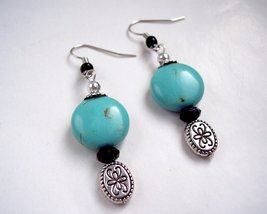 Round Drop Earring Turquoise Silver and Black - $12.50