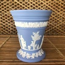"Wedgwood Blue Jasperware 5"" Arcadian Vase Neoclassical Stoneware Pottery... - $45.00"