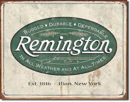 Remington Weathered Logo Guns and Ammo Metal Sign - $20.95