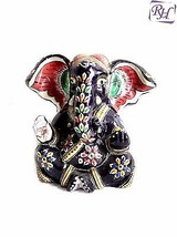 Indian Decorative Hand Made Gift Colorful Meena Painted Aluminium Ganesh Decor - $163.96