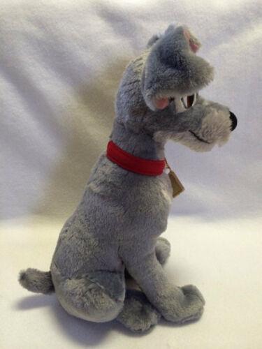 "Disney Store Tramp Scamp Large Gray Plush Red Collar Gold Tag Stuffed Animal 15"""