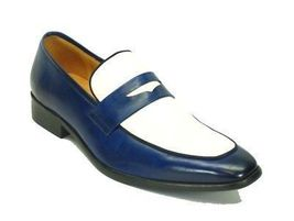Handmade Men Two tone Leather Shoes, Men blue and white leather shoes mo... - $169.99