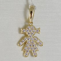 18K YELLOW GOLD GIRL CHARM PENDANT SMOOTH LUMINOUS BRIGHT ZIRCONIA MADE IN ITALY image 1