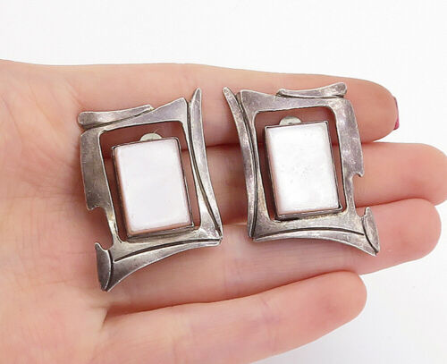 Primary image for 925 Silver - Vintage Pink Mother Of Pearl Non Pierce Clip On Earrings - E8830