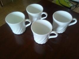 Corelle Corning Enhancement white mugs white swirl - $19.79