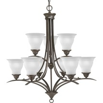 Antique Bronze Finish Chandelier Etched glass Progress Lighting P4329-20 - £293.75 GBP