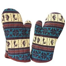 PANDA SUPERSTORE Ethnic Style Stripe Cotton Heat Insulation Gloves/Oven Mitts,Br