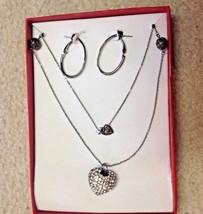 Heart Necklace Hoop Pierced Earrings Set Crystal Rhinestone Silver - $16.78