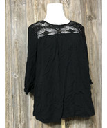 The Limited Black 3/4 Sleeve Blouse Top w/ Lace Crochet Accents Peasant ... - $12.86