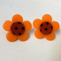 Vintage Big Plastic Flower Pierced Earrings Pinup Orange Red Polka Dot S... - $19.76