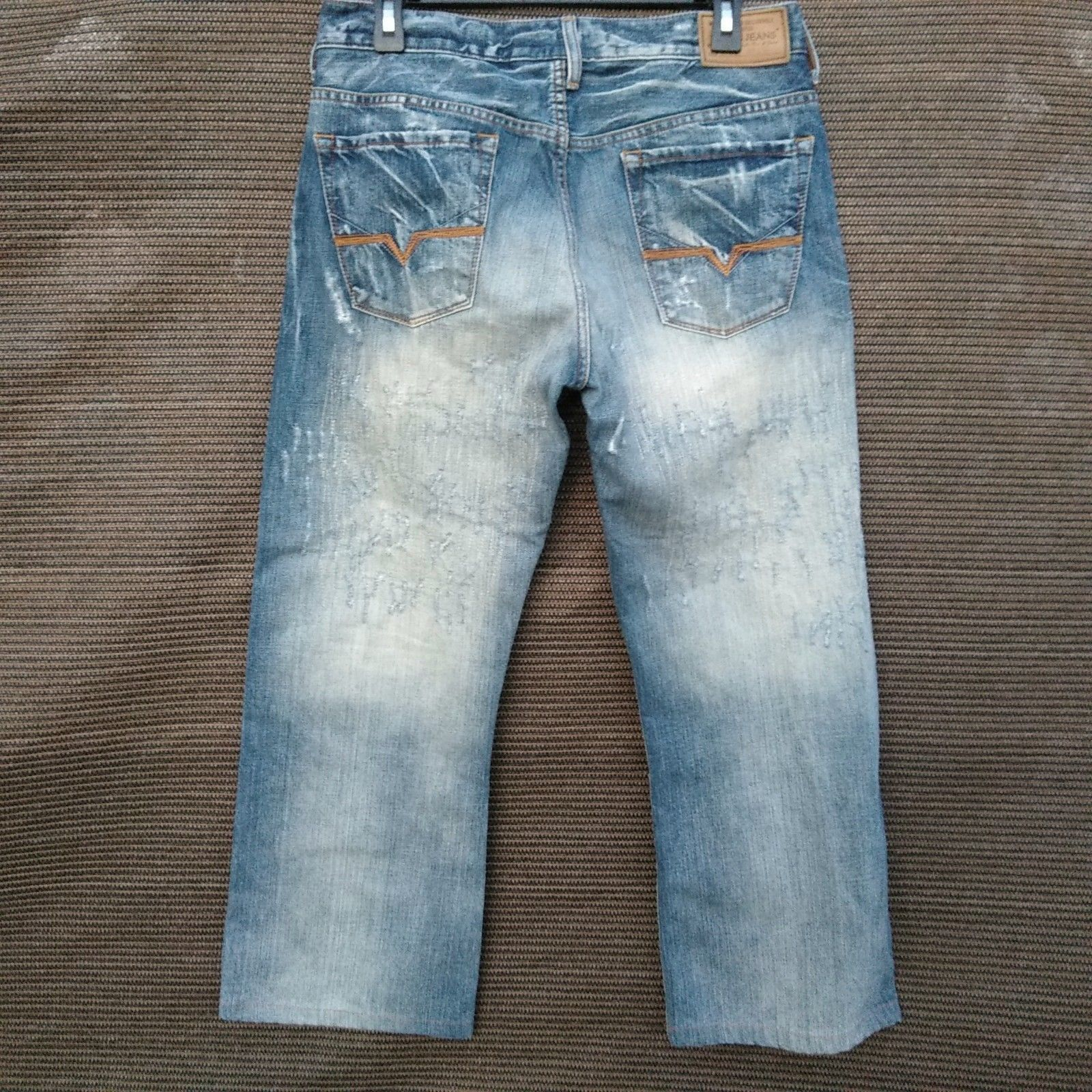 Guess Slim Straight Leg Jeans Men/'s Size 34 X 30 Classic Distressed Wash ~ NEW