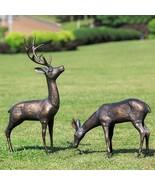 Meadow Wanderers Sculpture Pair Deer & Stag Garden Statues 16''-31.5''H - $337.59