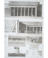 POMPEII Triangular Forum Facade Details Capitals - SUPERB 1905 Espouy Print - $17.96