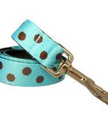 Candy Dot: Brown on Aqua Grosgrain Dog Leash (120cm, 4ft.) / Made in Japan - $36.00