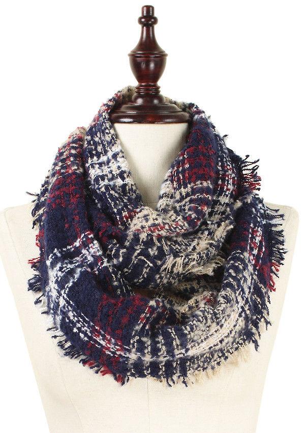 Plaid infinity scarf - 100% acrylic -Navy
